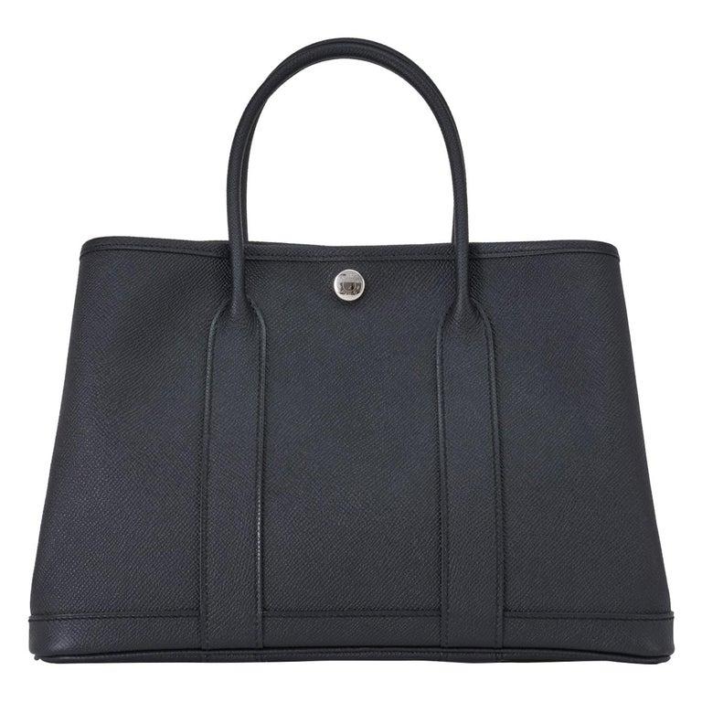 Hermes Black TPM Garden Party  Epsom Satchel Bag For Sale