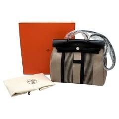 Hermes Black Vache Hunter & Toile Vibration Canvas Herbag PHW