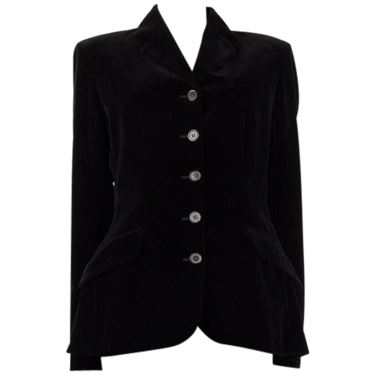 HERMES black velvet Classic Blazer Jacket 42 L