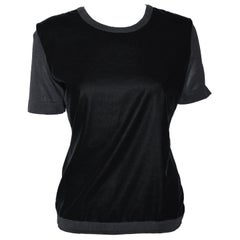 Hermes Black Velvet Front Short Sleeve Unlined Top