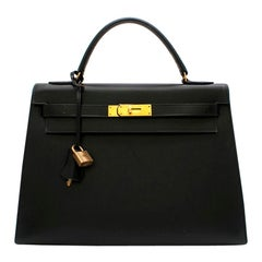 Hermes Black Vintage Box Leather Kelly Sellier 32 GHW