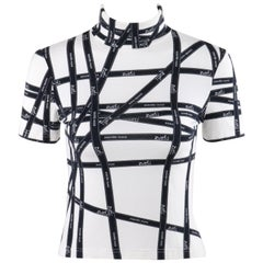 "HERMES Black & White ""Bolduc"" Hermes Monogram Logo Ribbon Turtleneck T-Shirt Top"