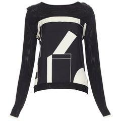 HERMES black white geometric silk print panel knit viscose pullover sweater FR34