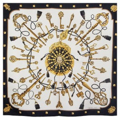 HERMES black white silk twill LES CLES 90 Scarf