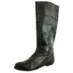Hermès Black Wild Crocodile Boots - Size 10 (US)