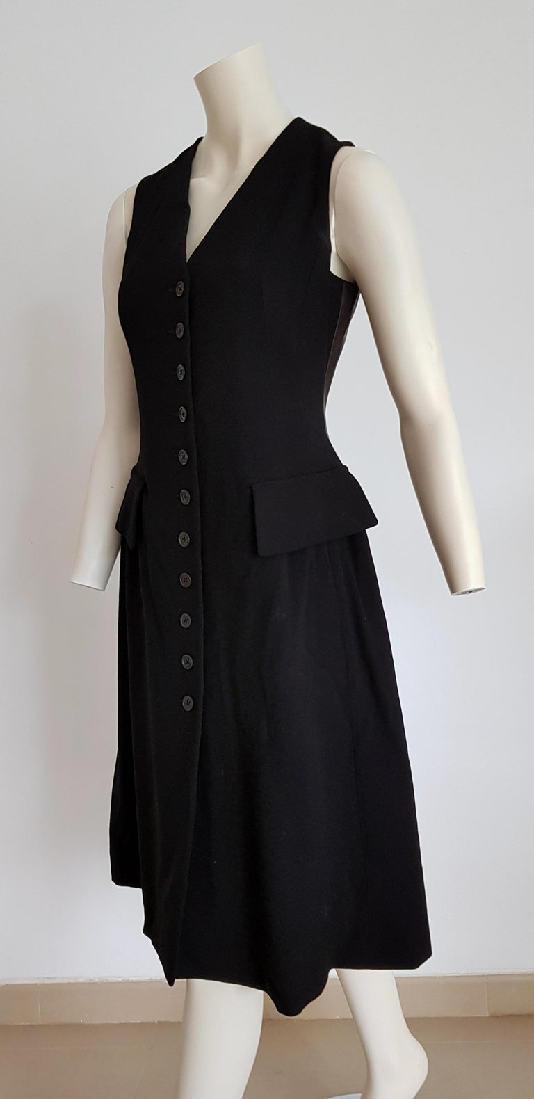 HERMES  black wool leather dress light bronze tone, lambskin on the back.  SIZE: equivalent to about Small / Medium, please review approx measurements as follows in cm: lenght 104, chest underarm to underarm 49, bust circumference 89, shoulder to