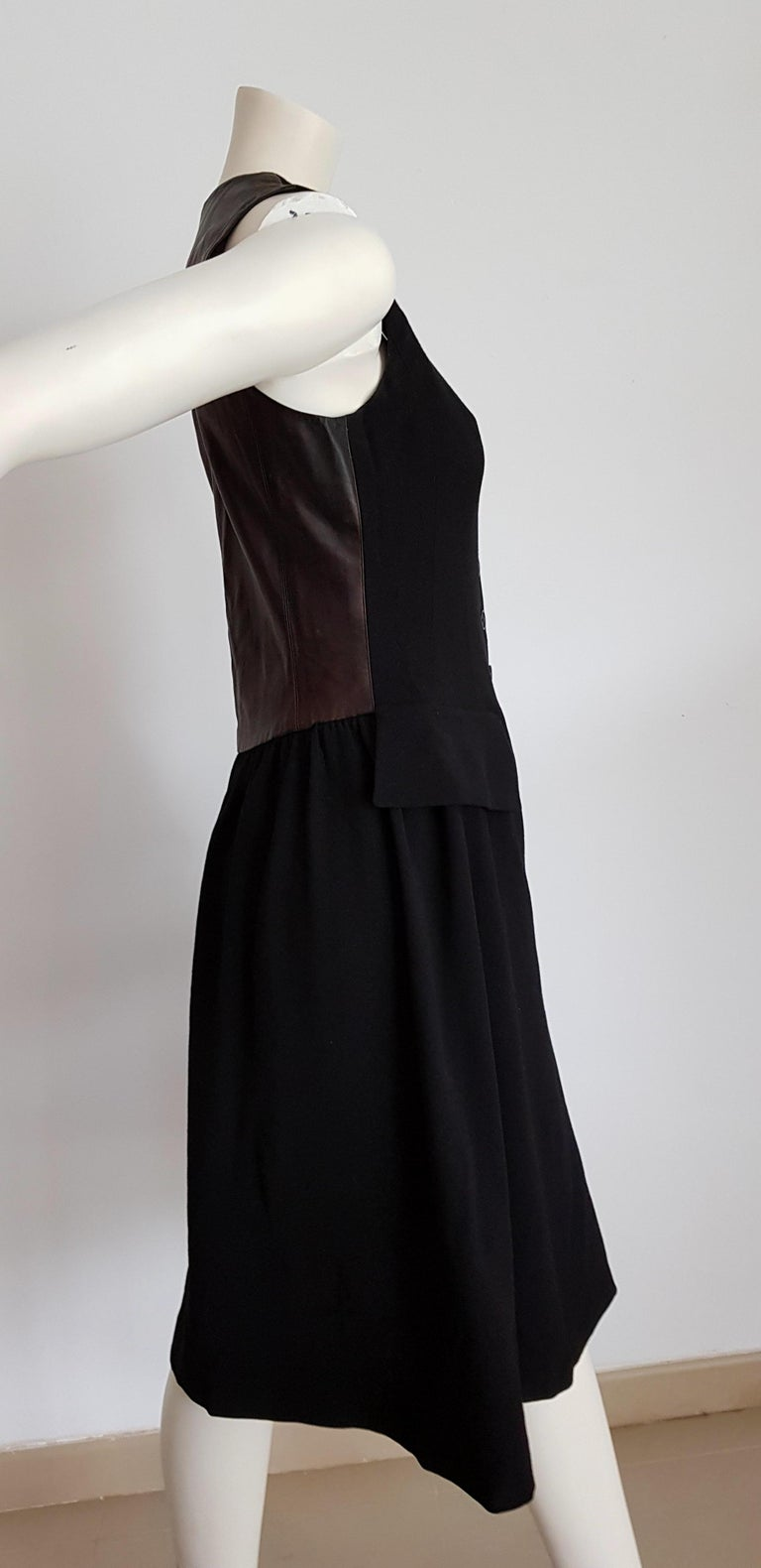 HERMES  Black Wool Leather Light Bronze Tone Lambskin Dress  In Excellent Condition For Sale In Somo (Santander), ES