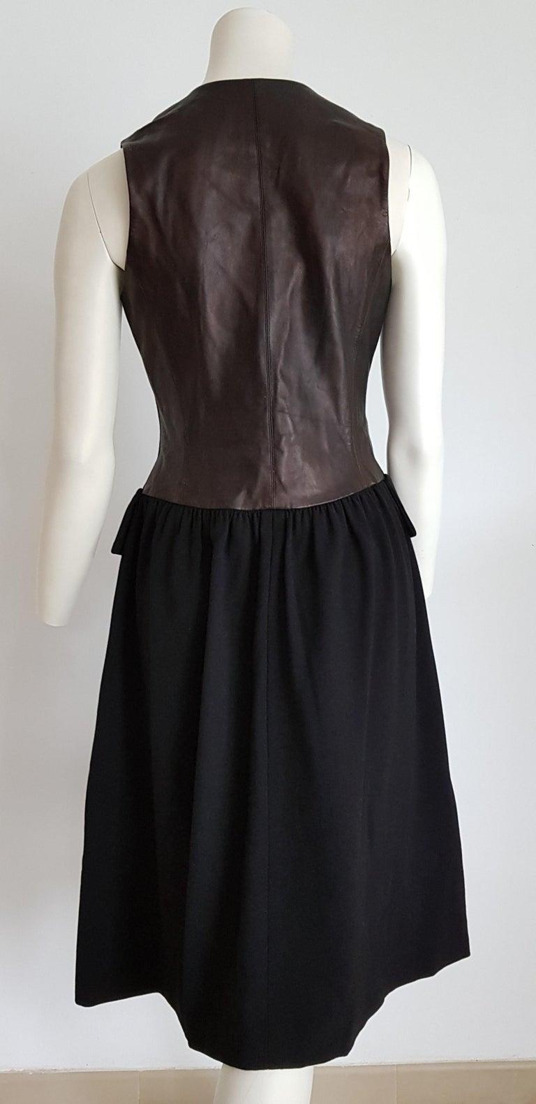 Women's HERMES  Black Wool Leather Light Bronze Tone Lambskin Dress  For Sale