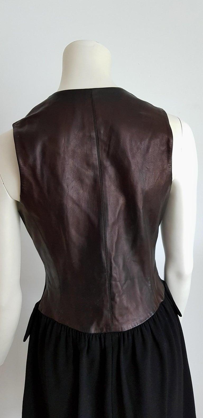 HERMES  Black Wool Leather Light Bronze Tone Lambskin Dress  For Sale 1