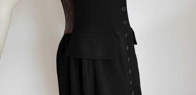 HERMES  Black Wool Leather Light Bronze Tone Lambskin Dress  For Sale 2