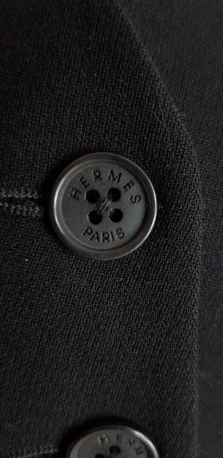 HERMES  Black Wool Leather Light Bronze Tone Lambskin Dress  For Sale 5