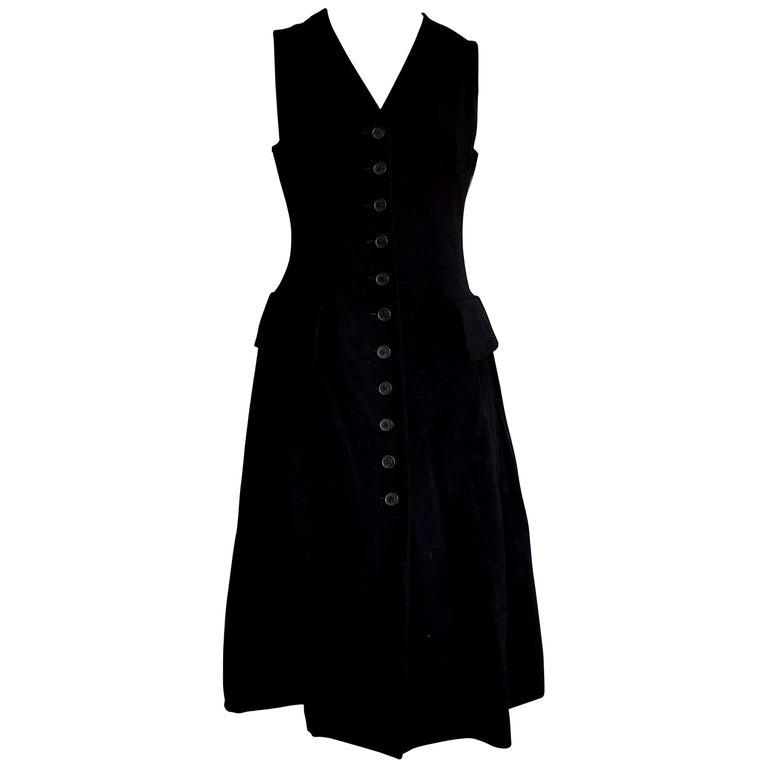 HERMES  Black Wool Leather Light Bronze Tone Lambskin Dress  For Sale