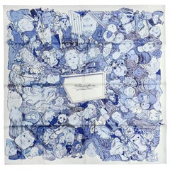 Hermes Blanc/Bleu Methamorphoses Par Hermes Paris by Philippe Dumas Silk Scarf