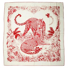 Hermes Blanc/Rouge Jungle Love Tattoo 140cm Silk/Cashmere Shawl by Robert Dallet