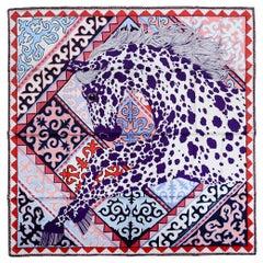 Hermes Blanc/Violet/Rose Appaloosa Des Steppes by Alice Shirley Silk Scarf