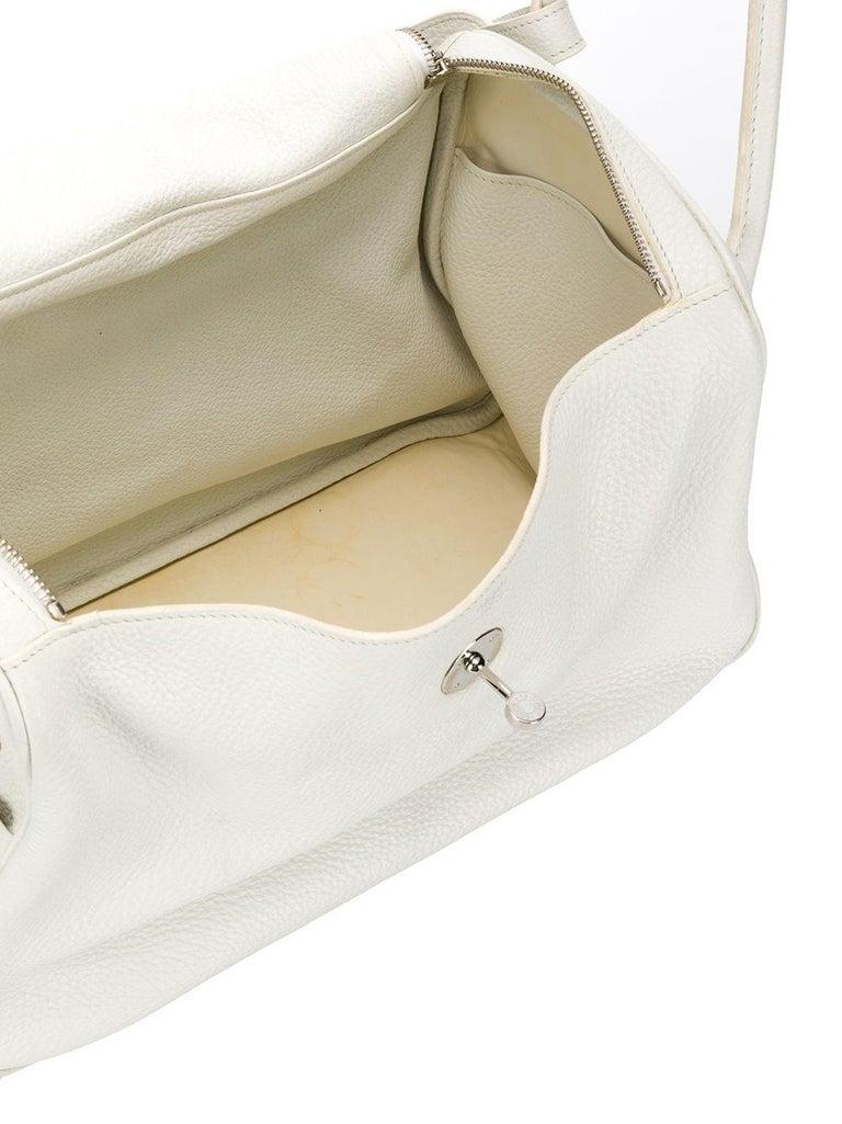 Gray Hermes Blanc White 34cm Lindy Bag For Sale