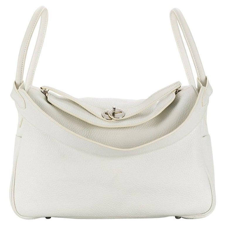 Hermes Blanc White 34cm Lindy Bag For Sale