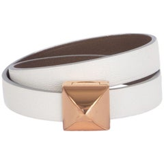 HERMES Blanc white / Etoupe taupe Swift MEDOR INFINI Double Tour Bracelet T2