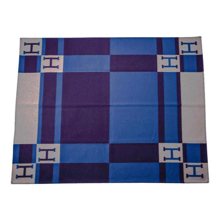 Hermes Blanket Avalon Bayadere Blue Marine Throw New For Sale 6