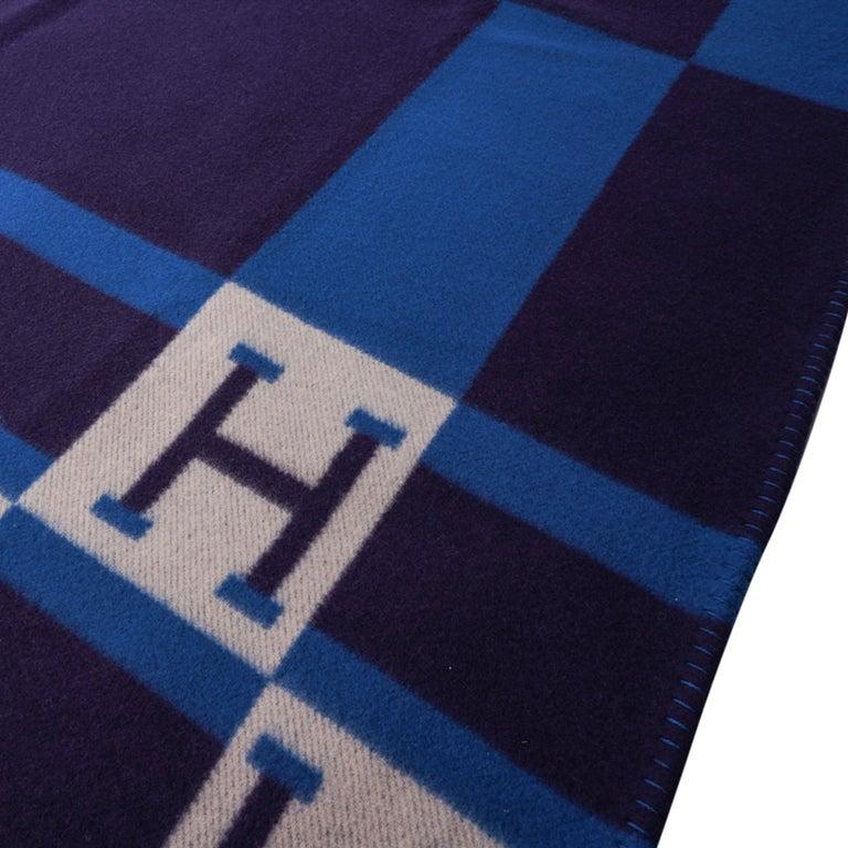 Women's or Men's Hermes Blanket Avalon Bayadere Blue Marine Throw New For Sale