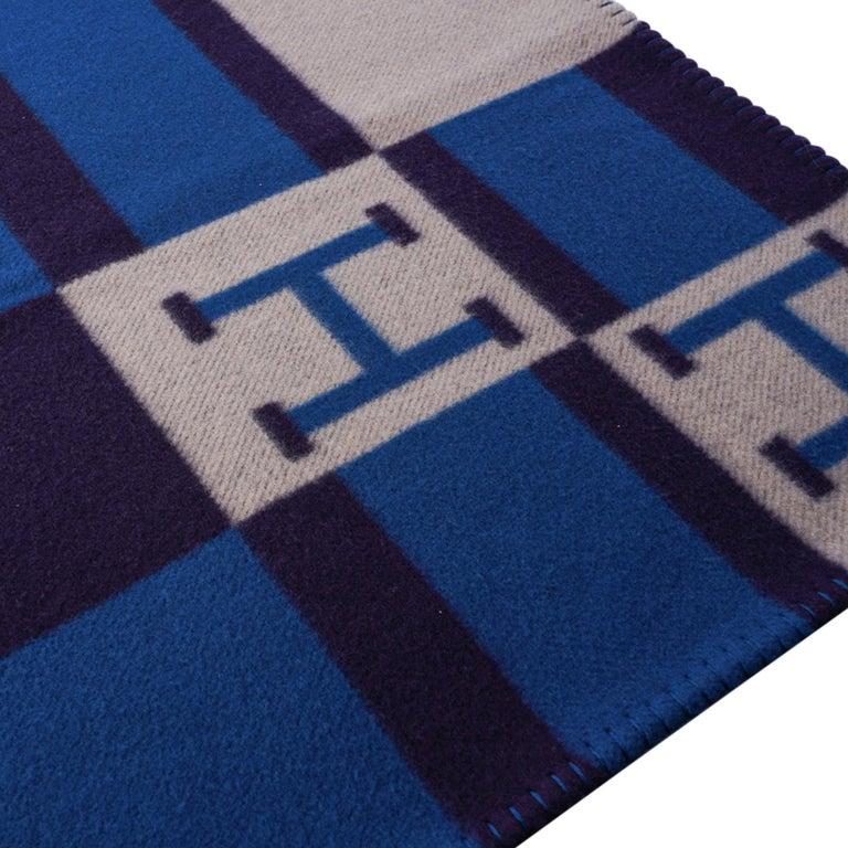Hermes Blanket Avalon Bayadere Blue Marine Throw New For Sale 1
