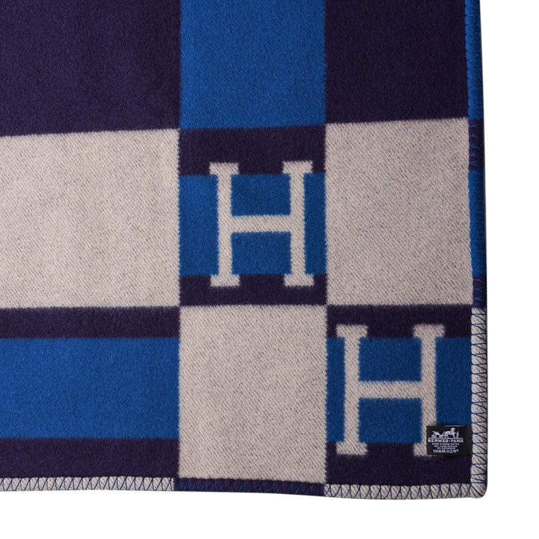 Hermes Blanket Avalon Bayadere Blue Marine Throw New For Sale 2