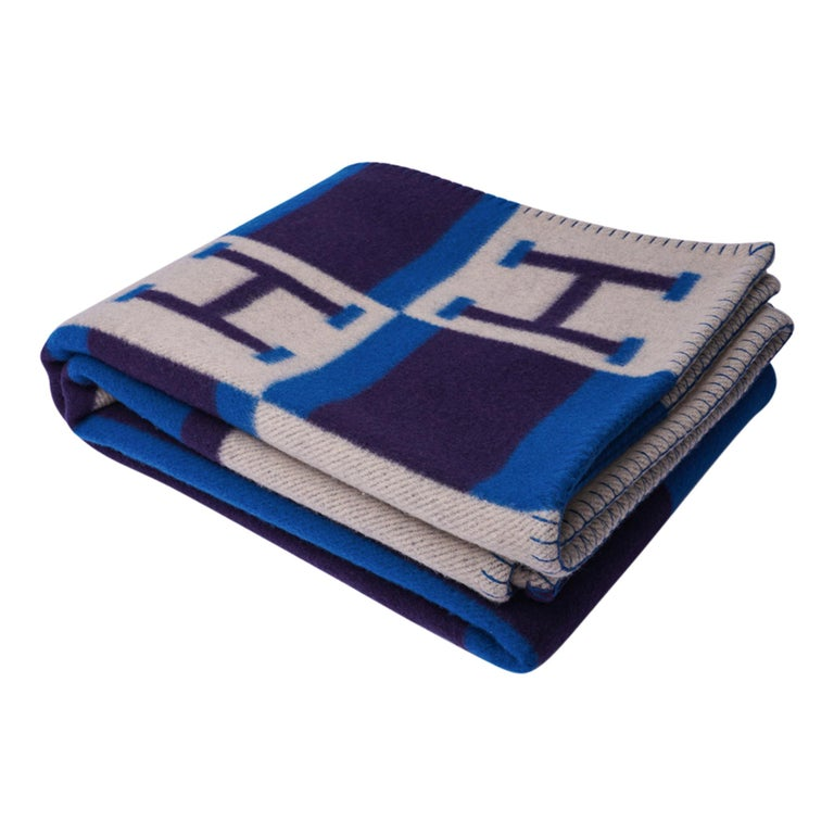 Hermes Blanket Avalon Bayadere Blue Marine Throw New For Sale 3