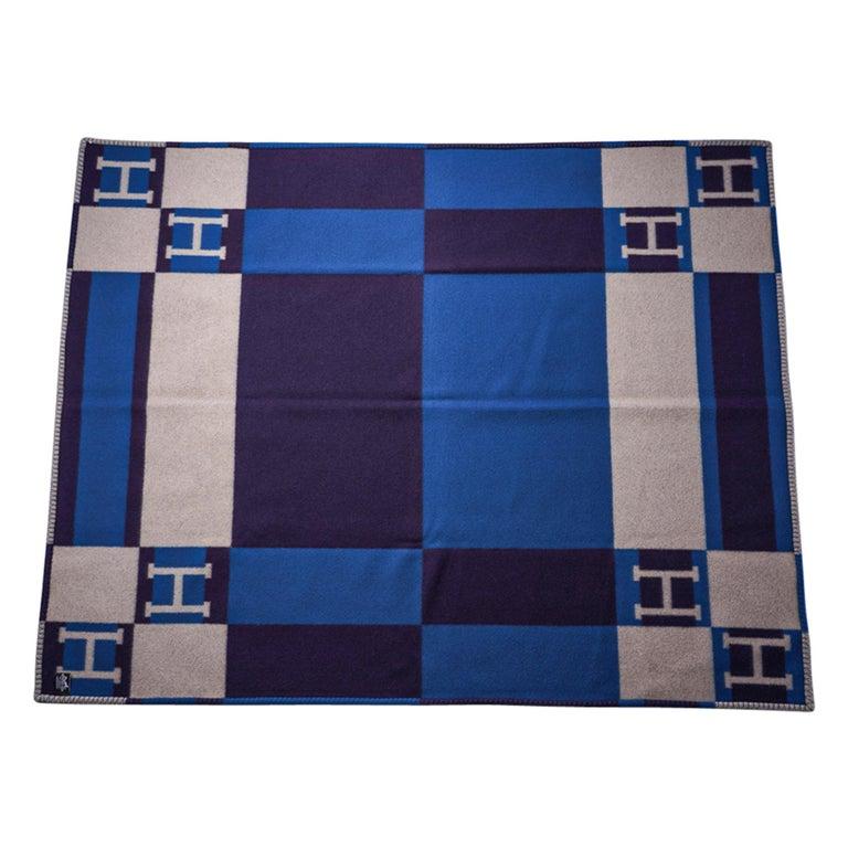 Hermes Blanket Avalon Bayadere Blue Marine Throw New For Sale 4
