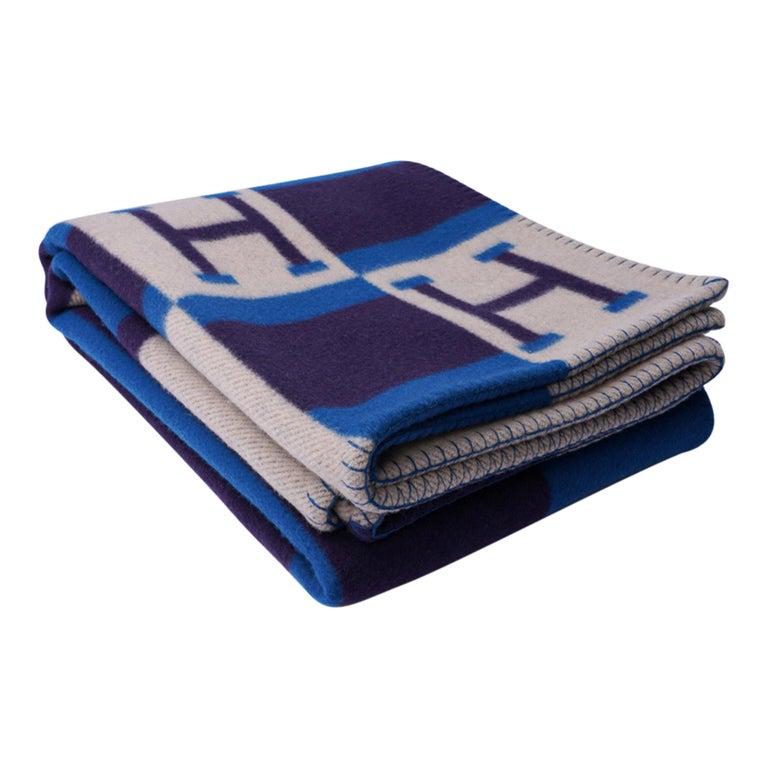 Hermes Blanket Avalon Bayadere Blue Marine Throw New For Sale 5