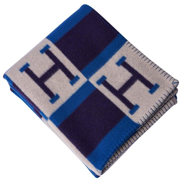 Hermes Blanket Avalon Bayadere Blue Marine Throw New For Sale