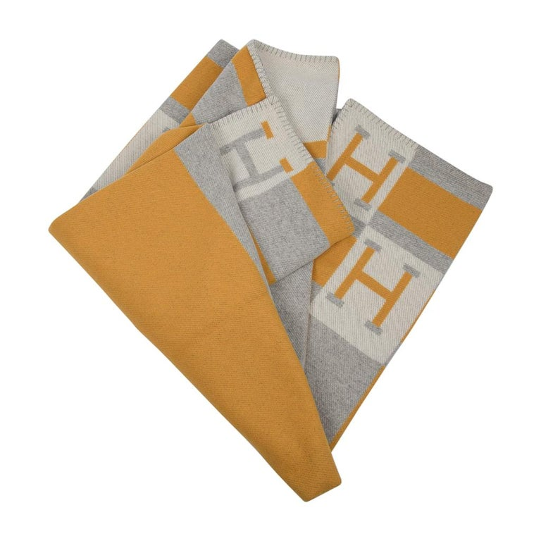 Gray Hermes Blanket Avalon Bayadere Throw Blanket Jaune Gris Ecru For Sale
