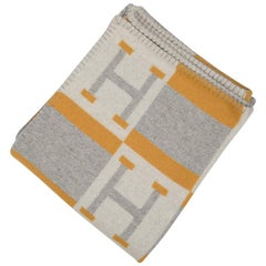 Hermes Blanket Avalon Bayadere Throw Blanket Jaune Gris Ecru