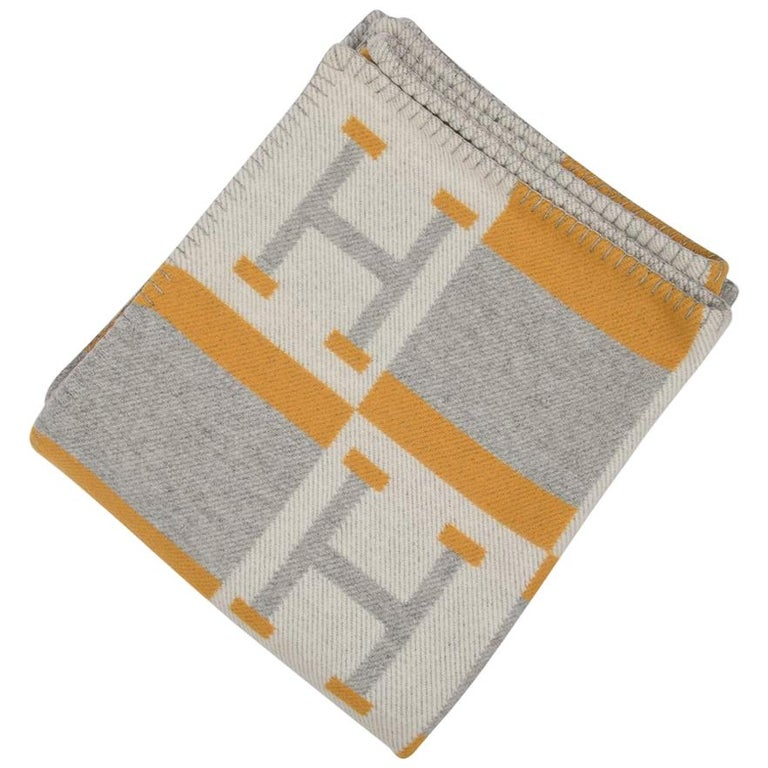 Hermes Blanket Avalon Bayadere Throw Blanket Jaune Gris Ecru For Sale
