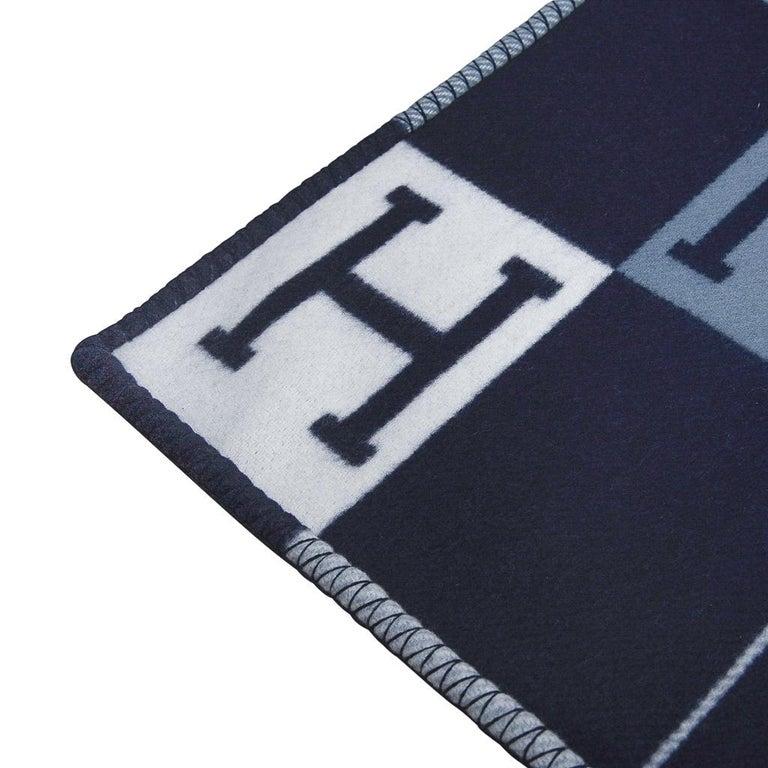 Black Hermes Blanket Avalon I Signature H Blue Throw New w/Box For Sale