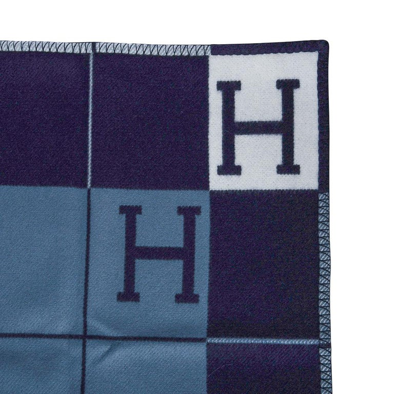 Hermes Blanket Avalon I Signature H Blue Throw New w/Box For Sale 2