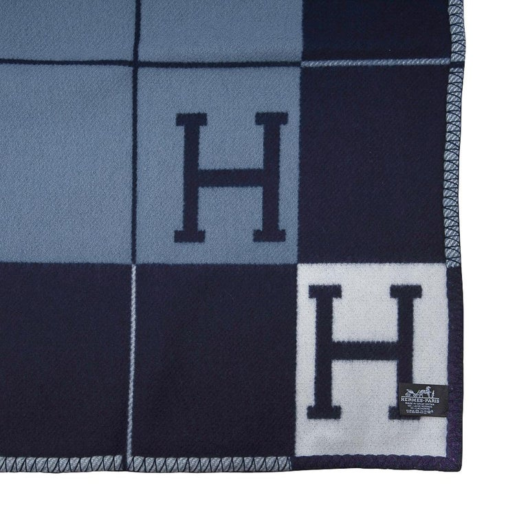 Hermes Blanket Avalon I Signature H Blue Throw New w/Box For Sale 3