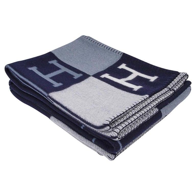Hermes Blanket Avalon I Signature H Blue Throw New w/Box ...