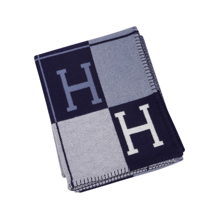Hermes Blanket Avalon I Signature H Blue Throw New w/Box For Sale