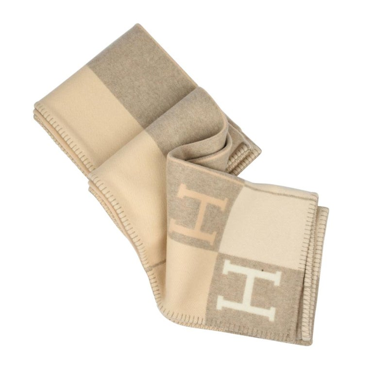 Beige Hermes Blanket Avalon I Signature H Coco and Camomille Throw Blanket For Sale