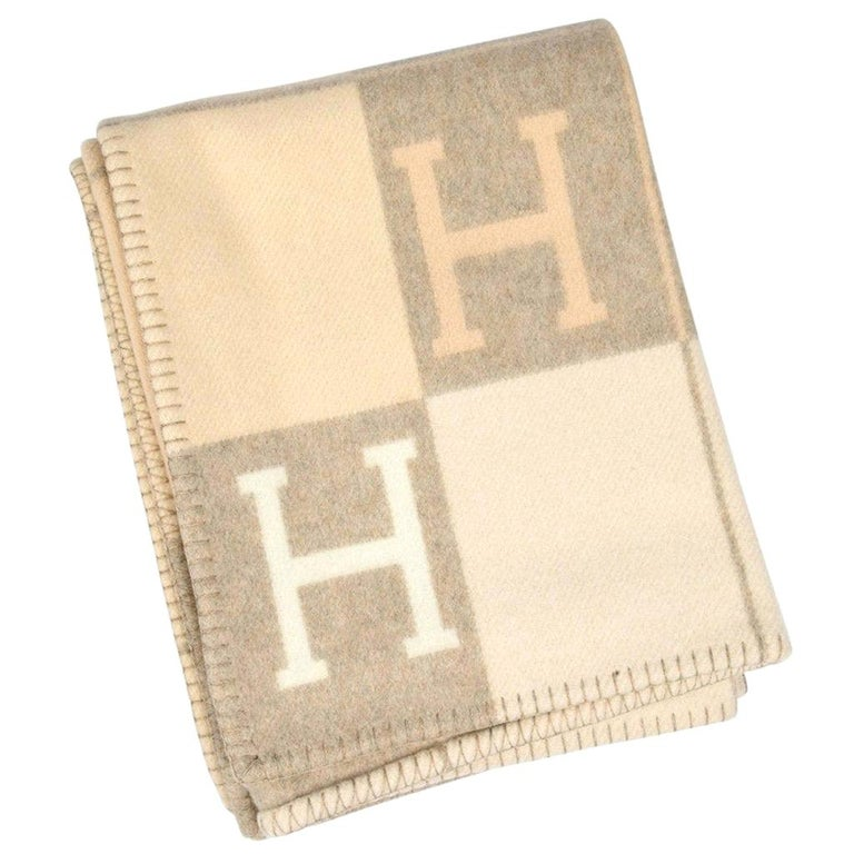 Hermes Blanket Avalon I Signature H Coco and Camomille Throw Blanket For Sale