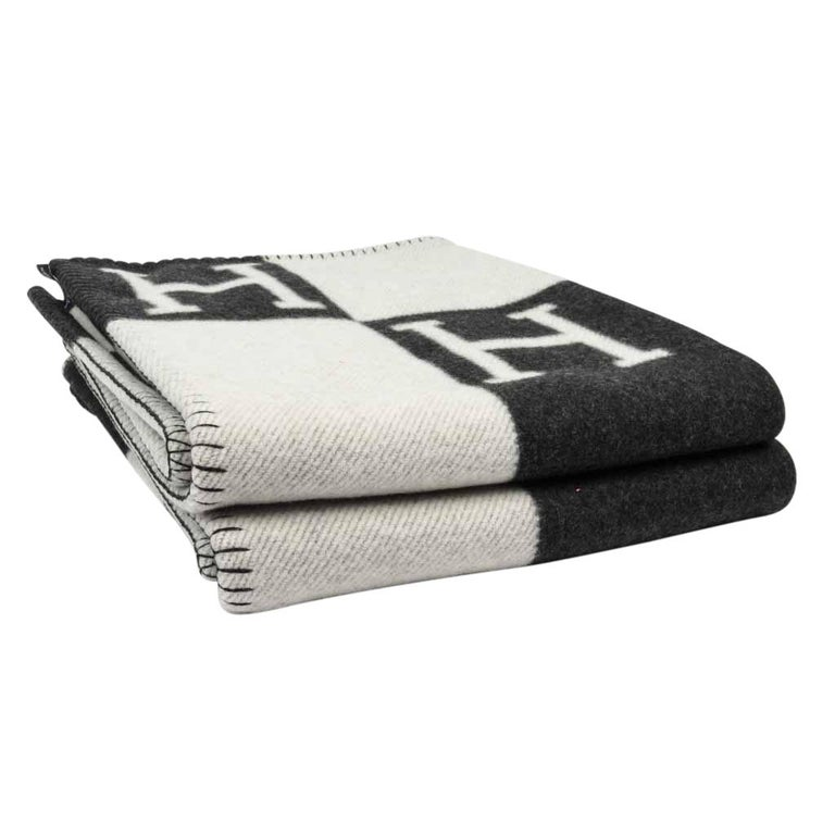 Beige Hermes Blanket Avalon I Signature H Ecru and Gris Fonce Throw Blanket