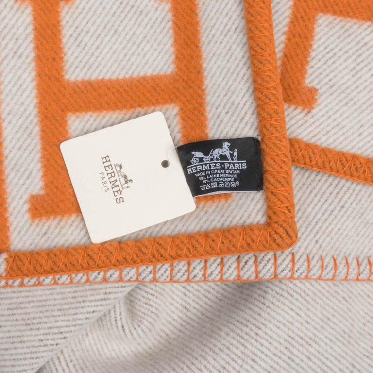 Hermes Blanket Avalon I Signature H Orange Throw Blanket For Sale 6