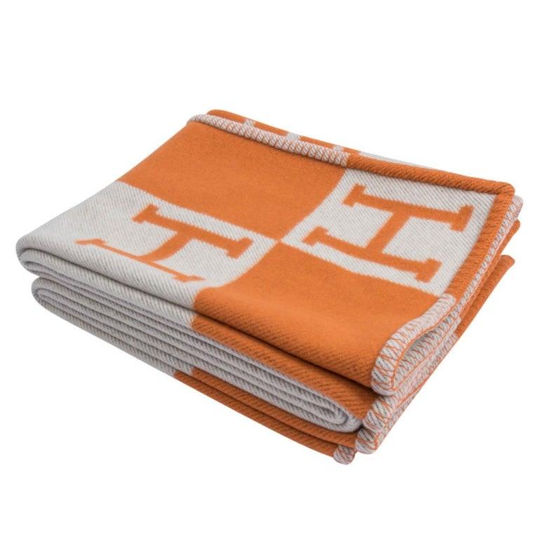 Hermes Blanket Avalon I Signature H Orange Throw Blanket In New Condition In Miami, FL