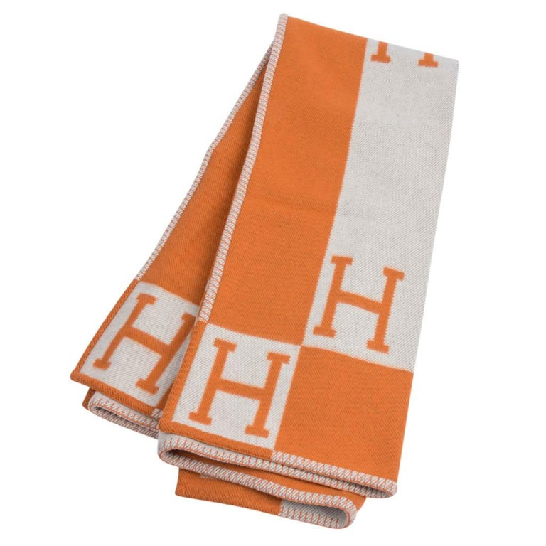 Women's or Men's Hermes Blanket Avalon I Signature H Orange Throw Blanket For Sale