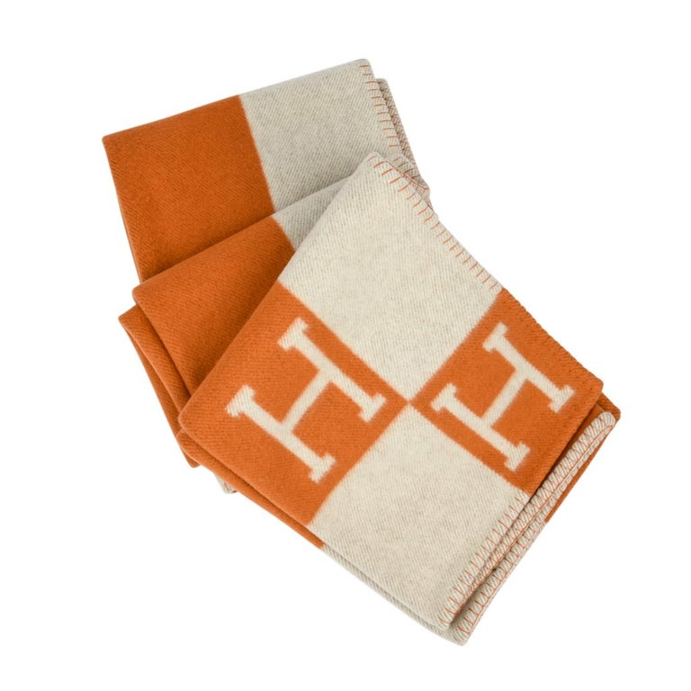 Hermes Blanket Avalon I Signature H Orange Throw Blanket For Sale 1