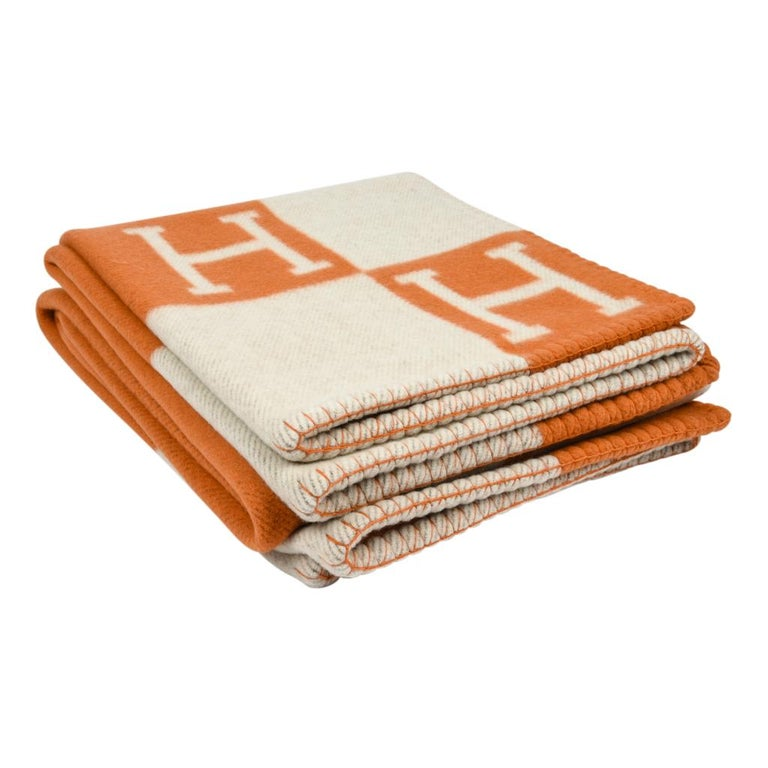 Hermes Blanket Avalon I Signature H Orange Throw Blanket For Sale 2