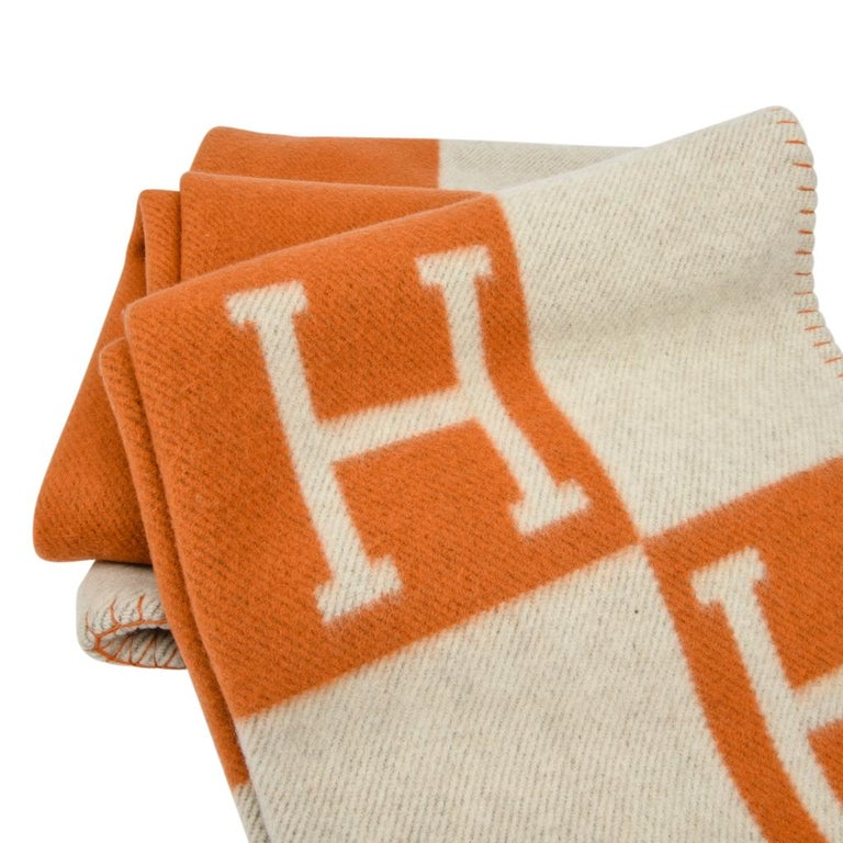Hermes Blanket Avalon I Signature H Orange Throw Blanket For Sale 4