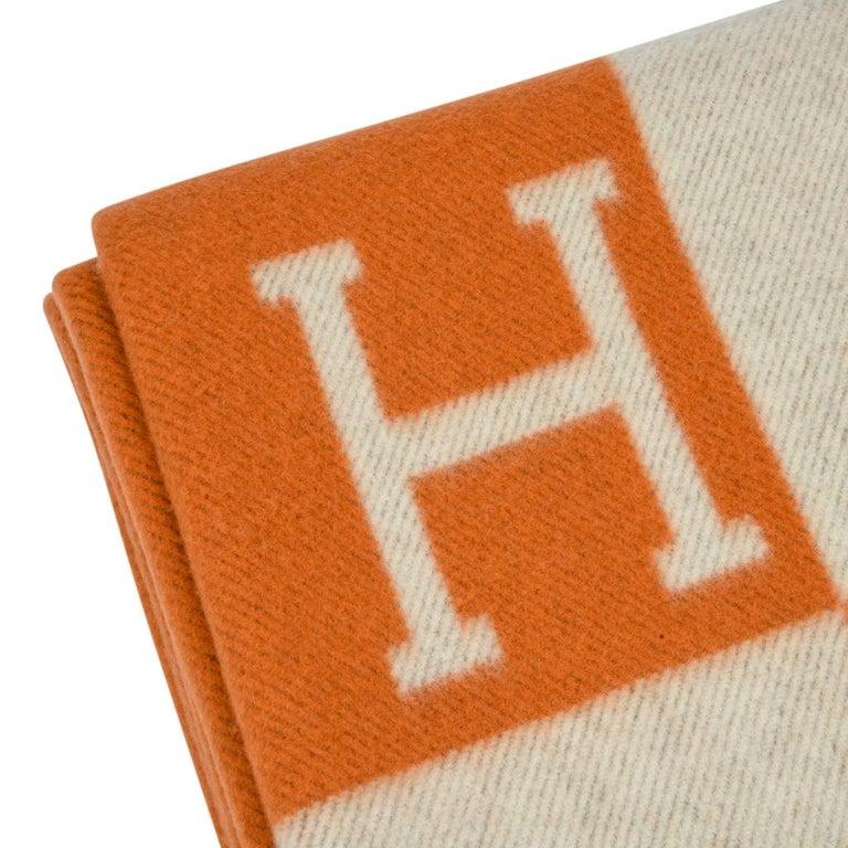 Hermes Blanket Avalon I Signature H Orange Throw Blanket 4