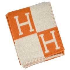 Hermes Blanket Avalon I Signature H Orange Throw Blanket