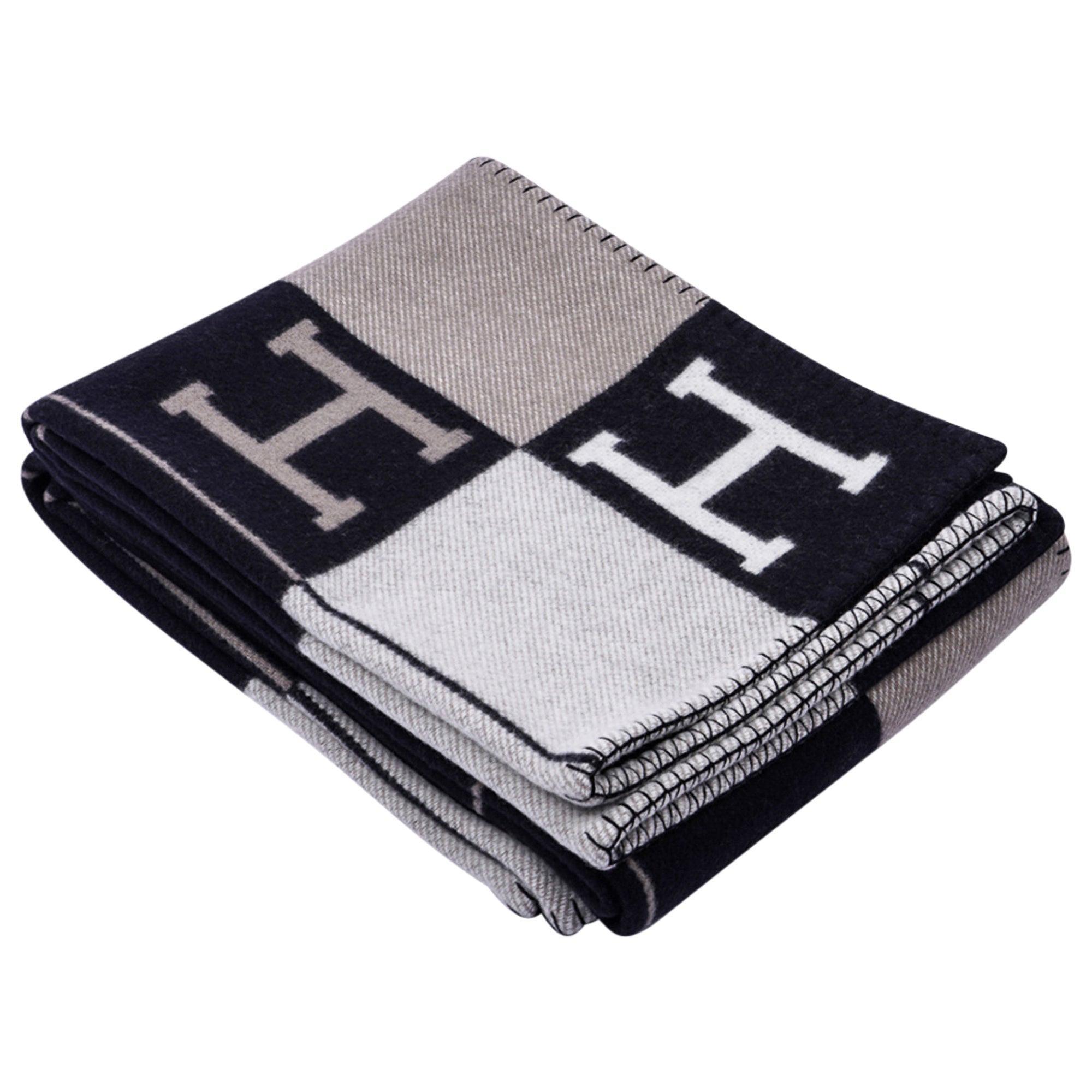 Hermes Blanket Avalon III Black/ Ecru Throw Blanket New w/Box